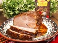 Рецепта Печено цяло парче свински врат без кост на фурна с бяло вино и подправки